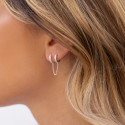 925 Silver [Single] Double textured hoop earrings with chain