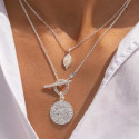 925 Silver nacre & textured necklace set