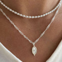 925 Silver nacre & Freshwater pearls necklace set