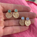 Gold-plated White Opal stud earrings with flower medal