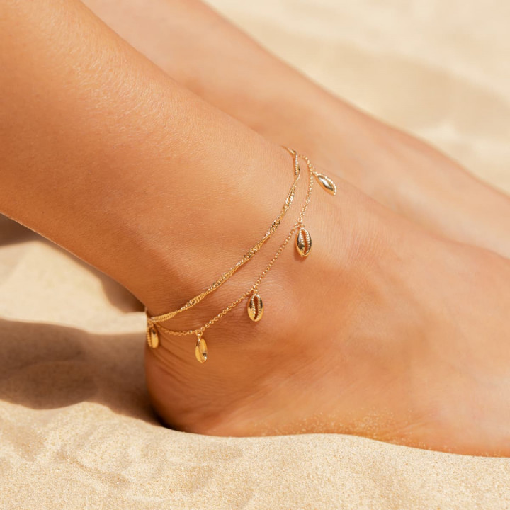 Gold-plated Cowrie shells chain anklet