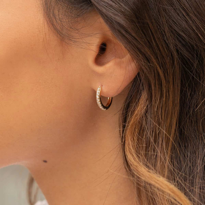 Gold-plated hoop earrings with zircons