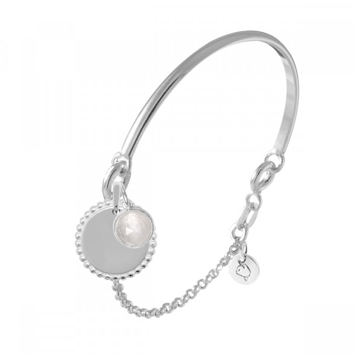 925 Silver half bangle and chain bracelet with Solis & gemstone