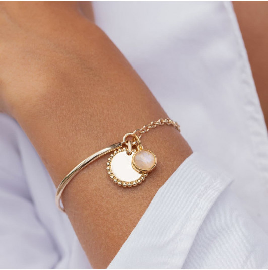 Half bangle and chain bracelet with Solis & gemstone