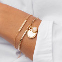 Gold-plated half bangle and chain bracelet with Solis & gemstone