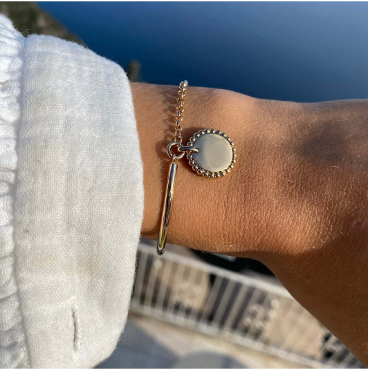 Half bangle and chain bracelet with Solis medal