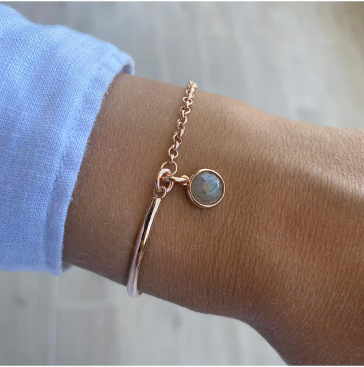Half bangle and chain bracelet with gemstone medal