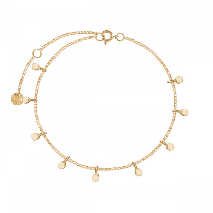 Gold-plated chain bracelet with hanging petals