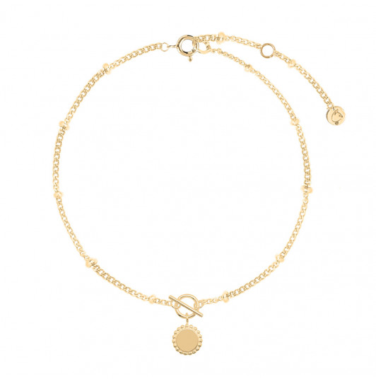 Chain bracelet with t toggle & beaded medal