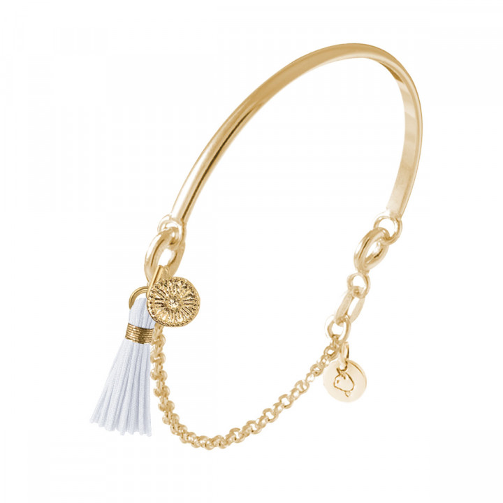 Gold-plated half bangle and chain bracelet with flower medal & pompom