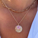 Gold-plated Maya medal & amazonite chain necklace