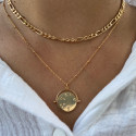 Gold-plated curb chain stitch necklace