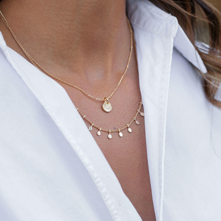 Gold-plated solis & textured necklace set