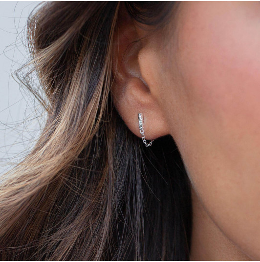 Textured rectangle & chain stud earrings
