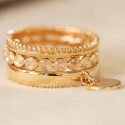 Gold-plated thin crown rings & medals trio set