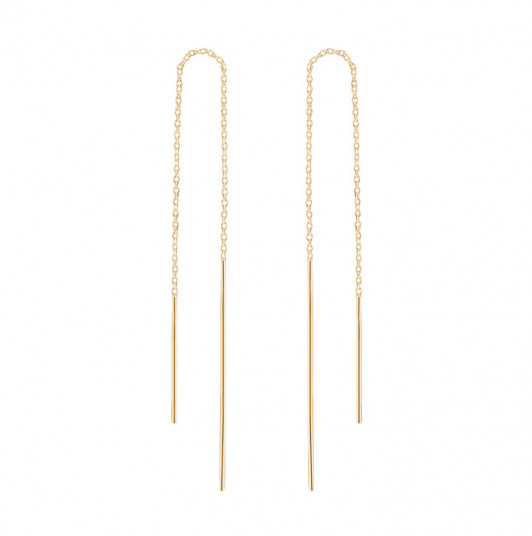 Asymmetrical rods and chain earrings