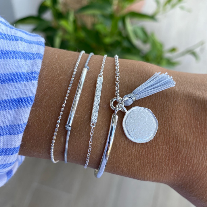 Double layer grey tie and 925 silver chain bracelet