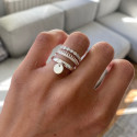 925 Silver band ring with small medal