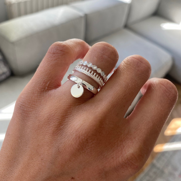925 Silver band ring with large crown