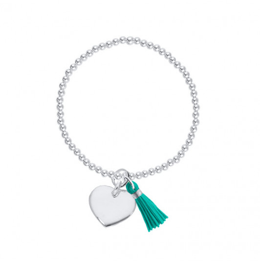 4mm beads bracelet with pompom and heart charm