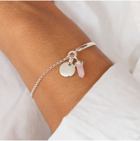Half bangle and chain bracelet with curved medal & small prism
