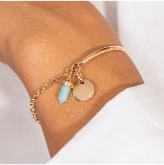 Half bangle and chain bracelet with medal & small prism