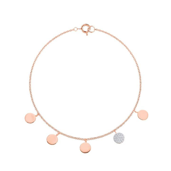Bracelet cordon mini lune plaqué or