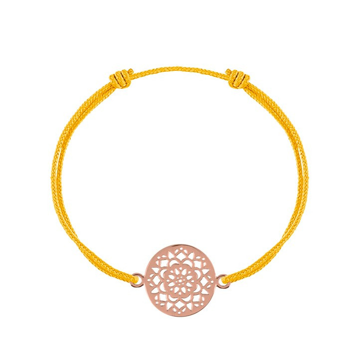 Tie bracelet with gold-plated small target