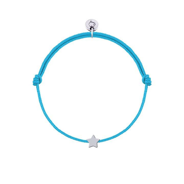 Tie bracelet with perforated inital medal charm