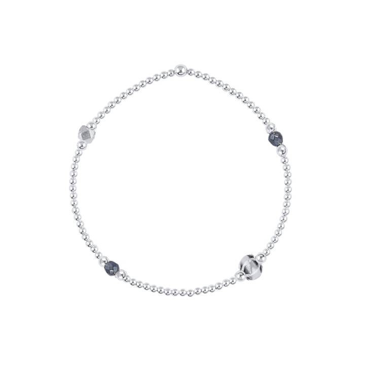 2mm beads bracelet & small curved heart medal
