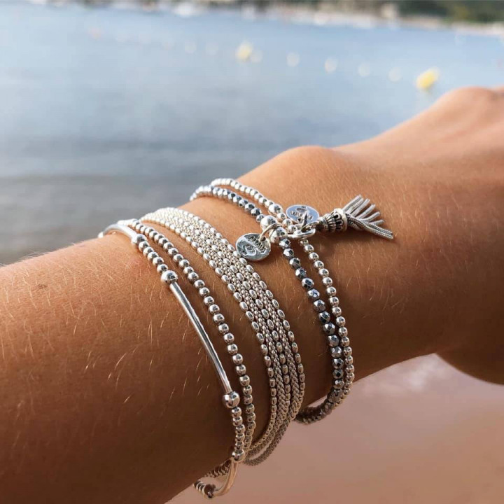 Silver beads and tubes bracelet
