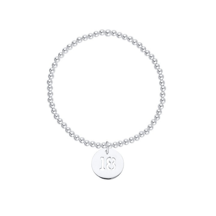 3 mm beads and perforated number medal bracelet