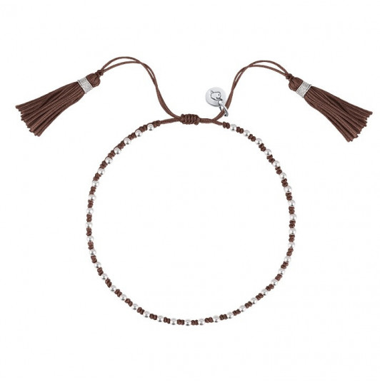 Taupe tie bracelet with beads and pompom