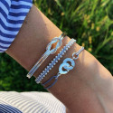 925 Silver braided bracelet with beads