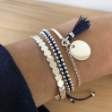 925 Silver navy blue braided bracelet with beads