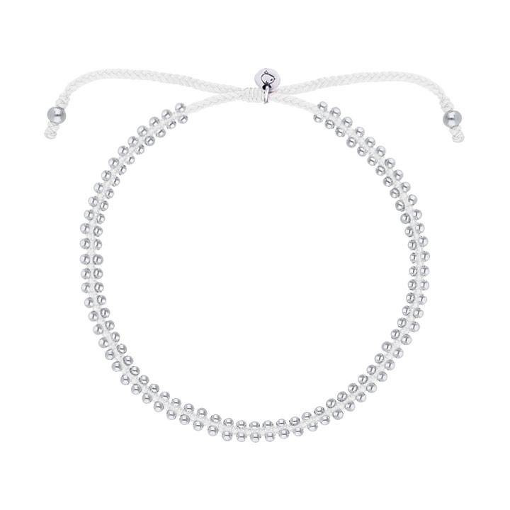 925 Silver white braided bracelet with beads
