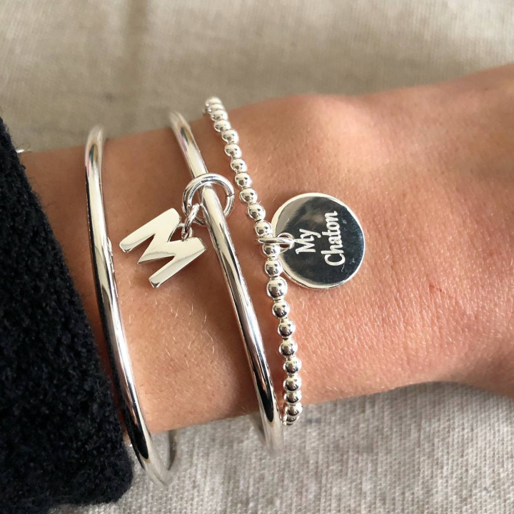 925 SIlver bangle bracelet with a letter charm