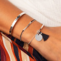 Hammered 925 silver open bangle
