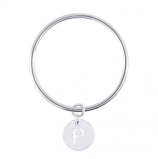 Bangle bracelet with perforated initial medal