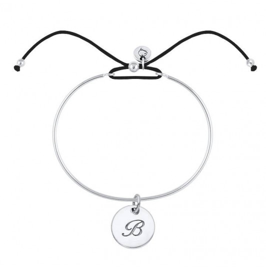 Tie bangle bracelet with initial letter medal