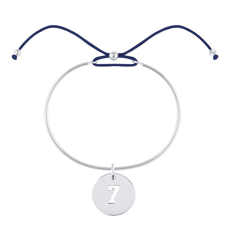 Tie bangle bracelet with number charm