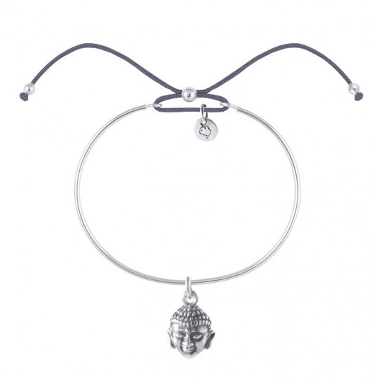 Tie bangle bracelet with silver buddha