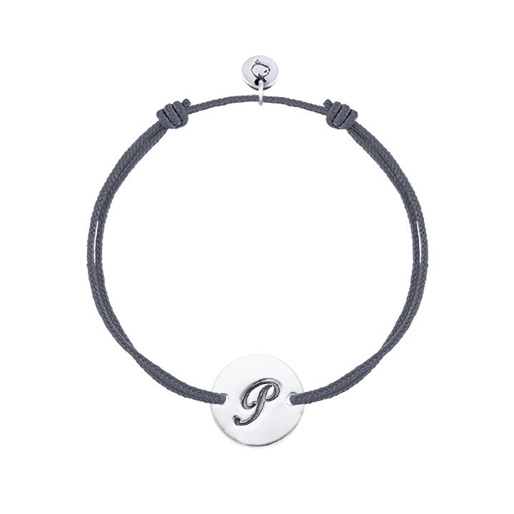 Tie bracelet with initial medal