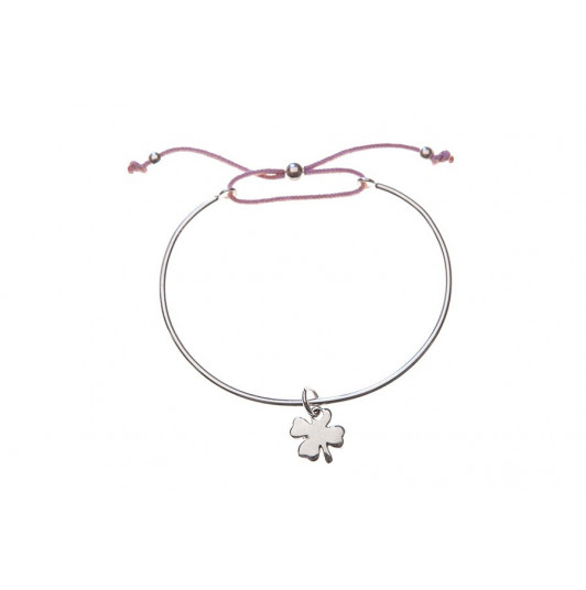 Tie bangle bracelet with clover for children