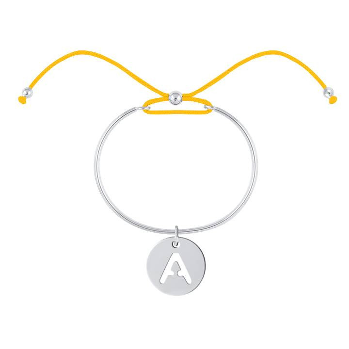 Tie bangle bracelet with perforated initial medal for children
