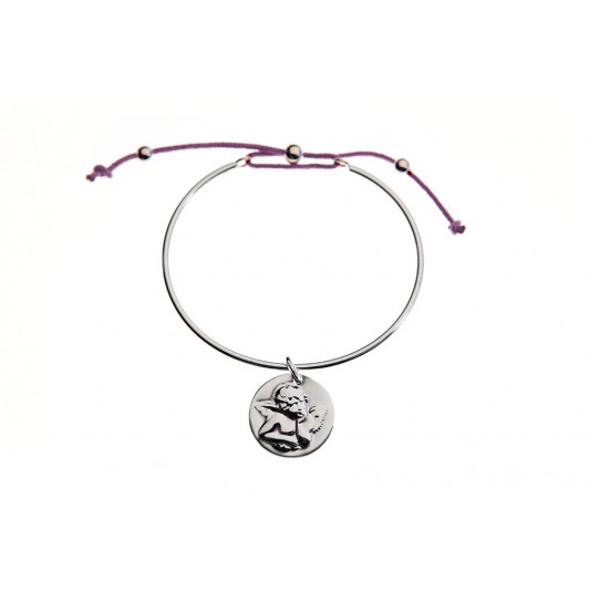 Tie bangle bracelet with angel charm for children