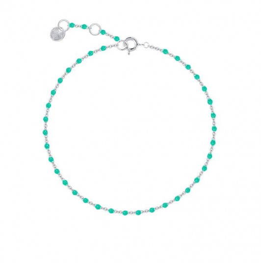 Chain bracelet with small turquoise green beads