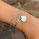 925 Silver chain bracelet with mini turquoise green beads