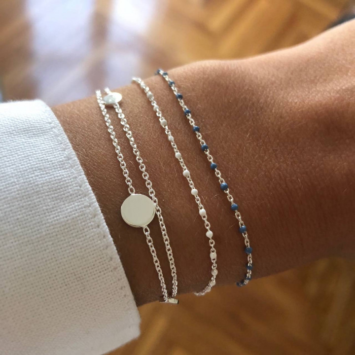 925 Silver chain bracelet with mini white beads