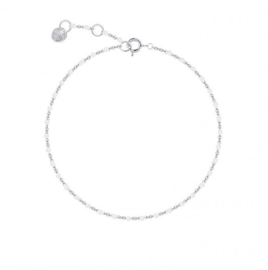 Chain bracelet with small white beads